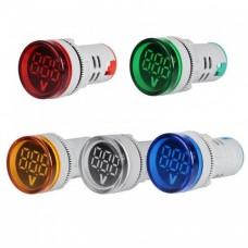 ولت متر DC تابلویی (چراغ سیگنالی)  گرد 7 تا 100 ولت آبی