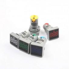 ولت متر AC تابلویی (چراغ سیگنالی) مربعی 60 تا 500 ولت قرمز